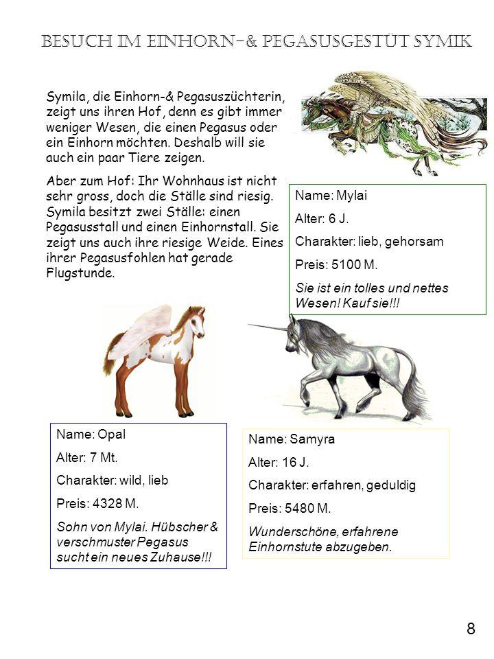 Besuch im Einhorn-& Pegasusgestüt Symik Symila, die Einhorn-& Pegasuszüchterin, zeigt uns ihren Hof, denn es gibt immer weniger Wesen, die einen Pegas