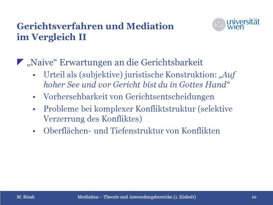 """M. RisakMediation – Theorie und Anwendungsbereiche (1. Einheit)10 Gerichtsverfahren und Mediation im Vergleich II  """"Naive"""" Erwartungen an die Gericht"""