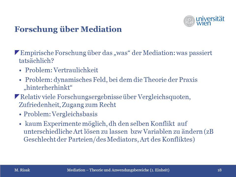 """M. RisakMediation – Theorie und Anwendungsbereiche (1. Einheit)18 Forschung über Mediation  Empirische Forschung über das """"was"""" der Mediation: was pa"""