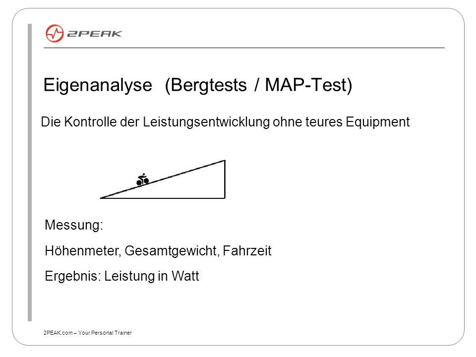 2PEAK.com – Your Personal Trainer Eigenanalyse (Bergtests / MAP-Test) Die Kontrolle der Leistungsentwicklung ohne teures Equipment Messung: Höhenmeter