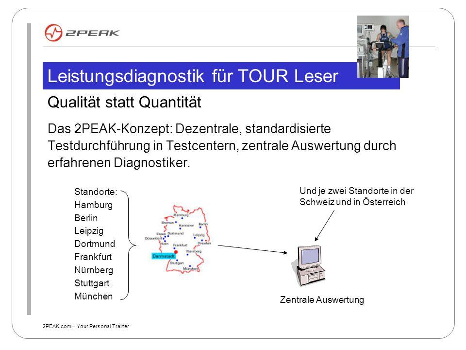 2PEAK.com – Your Personal Trainer Leistungsdiagnostik für TOUR Leser Qualität statt Quantität Das 2PEAK-Konzept: Dezentrale, standardisierte Testdurch