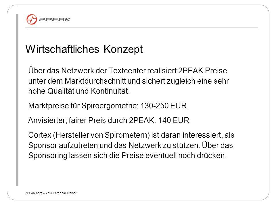 2PEAK.com – Your Personal Trainer Wirtschaftliches Konzept Über das Netzwerk der Textcenter realisiert 2PEAK Preise unter dem Marktdurchschnitt und si