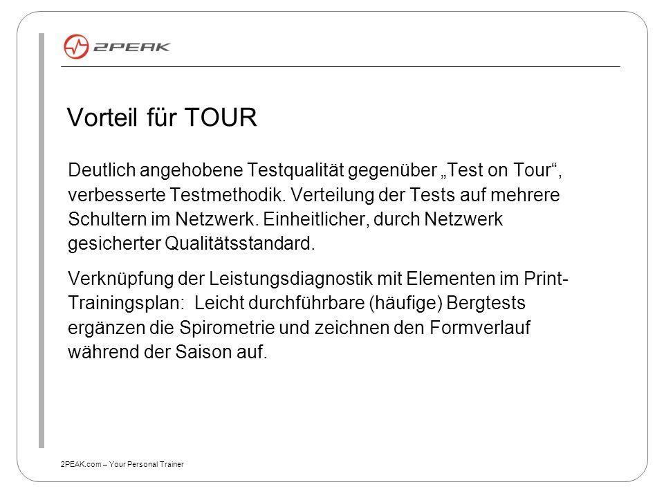 """2PEAK.com – Your Personal Trainer Vorteil für TOUR Deutlich angehobene Testqualität gegenüber """"Test on Tour"""", verbesserte Testmethodik. Verteilung der"""