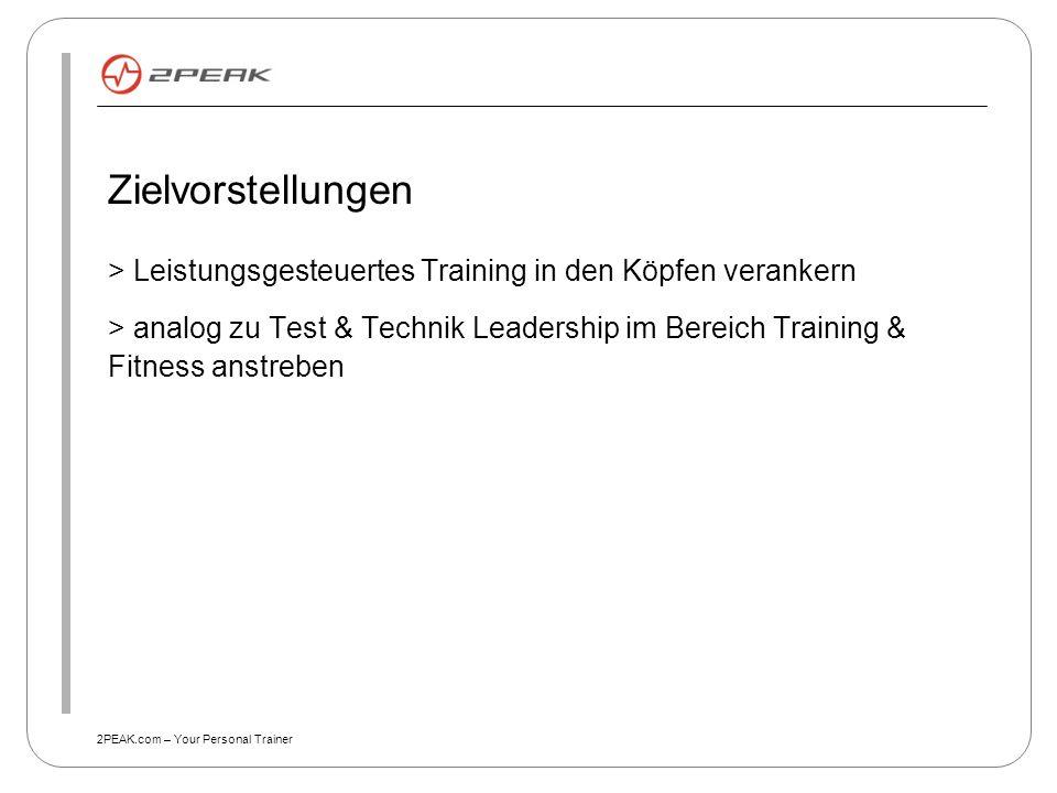 2PEAK.com – Your Personal Trainer Zielvorstellungen > Leistungsgesteuertes Training in den Köpfen verankern > analog zu Test & Technik Leadership im B