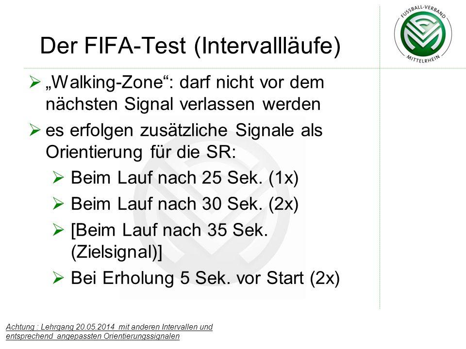 """Der FIFA-Test (Intervallläufe)  """"Walking-Zone"""": darf nicht vor dem nächsten Signal verlassen werden  es erfolgen zusätzliche Signale als Orientierun"""