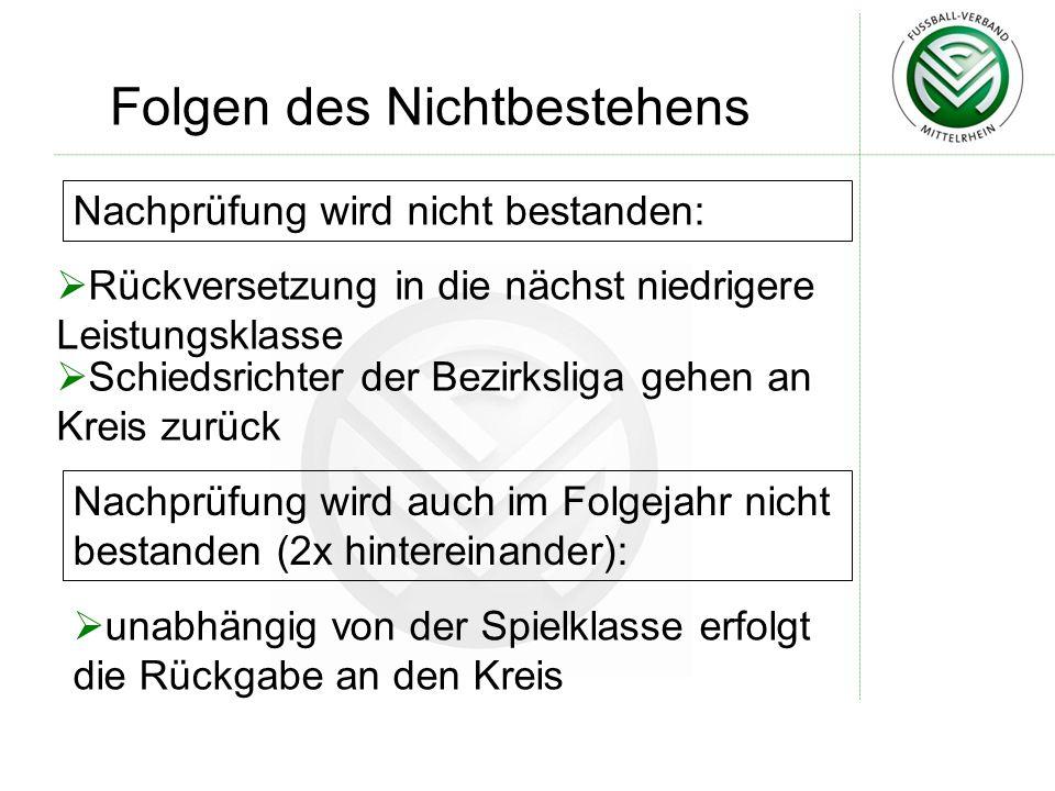 Folgen des Nichtbestehens Nachprüfung wird nicht bestanden:  Rückversetzung in die nächst niedrigere Leistungsklasse  Schiedsrichter der Bezirksliga