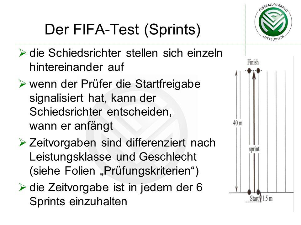Der FIFA-Test (Sprints)  die Schiedsrichter stellen sich einzeln hintereinander auf  wenn der Prüfer die Startfreigabe signalisiert hat, kann der Sc