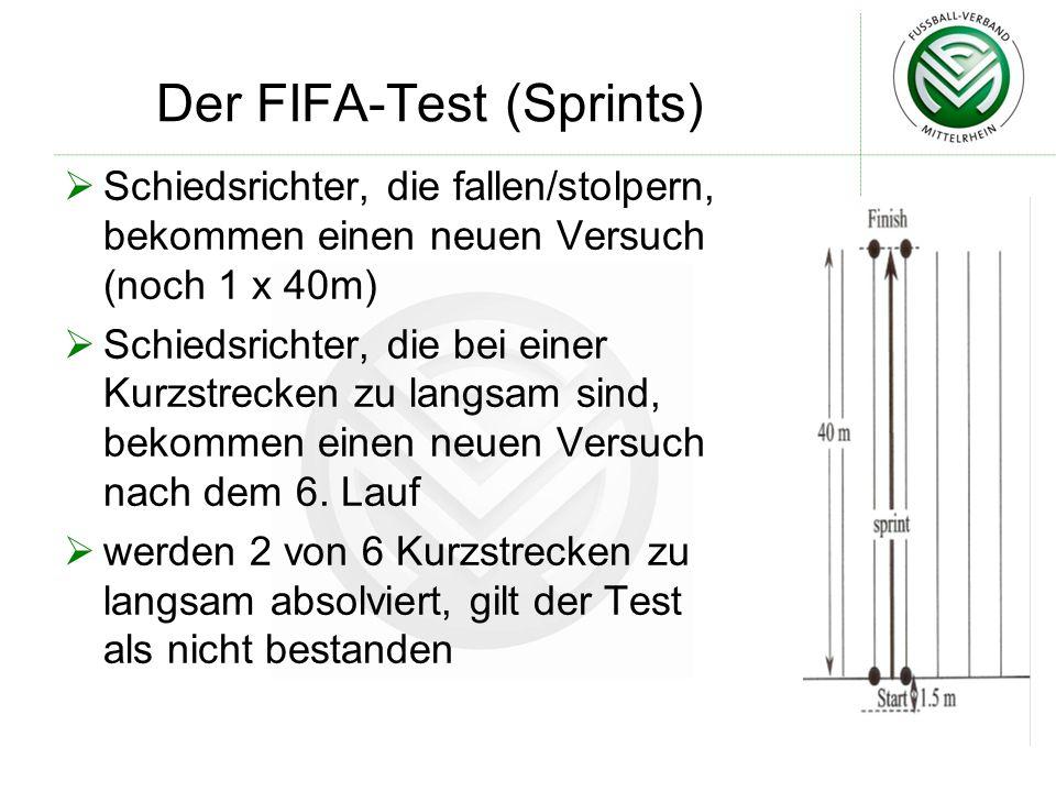 Der FIFA-Test (Sprints)  Schiedsrichter, die fallen/stolpern, bekommen einen neuen Versuch (noch 1 x 40m)  Schiedsrichter, die bei einer Kurzstrecke