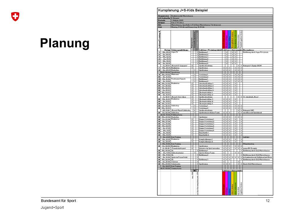12 Bundesamt für Sport Jugend+Sport Planung