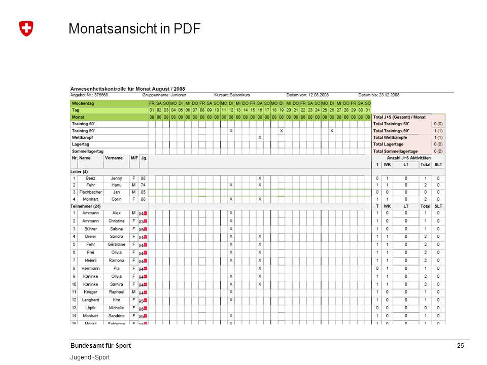 25 Bundesamt für Sport Jugend+Sport Monatsansicht in PDF