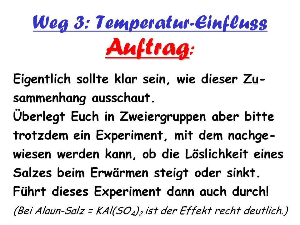 Weg 3: Temperatur-Einfluss Auftrag Auftrag : Eigentlich sollte klar sein, wie dieser Zu- sammenhang ausschaut. Überlegt Euch in Zweiergruppen aber bit