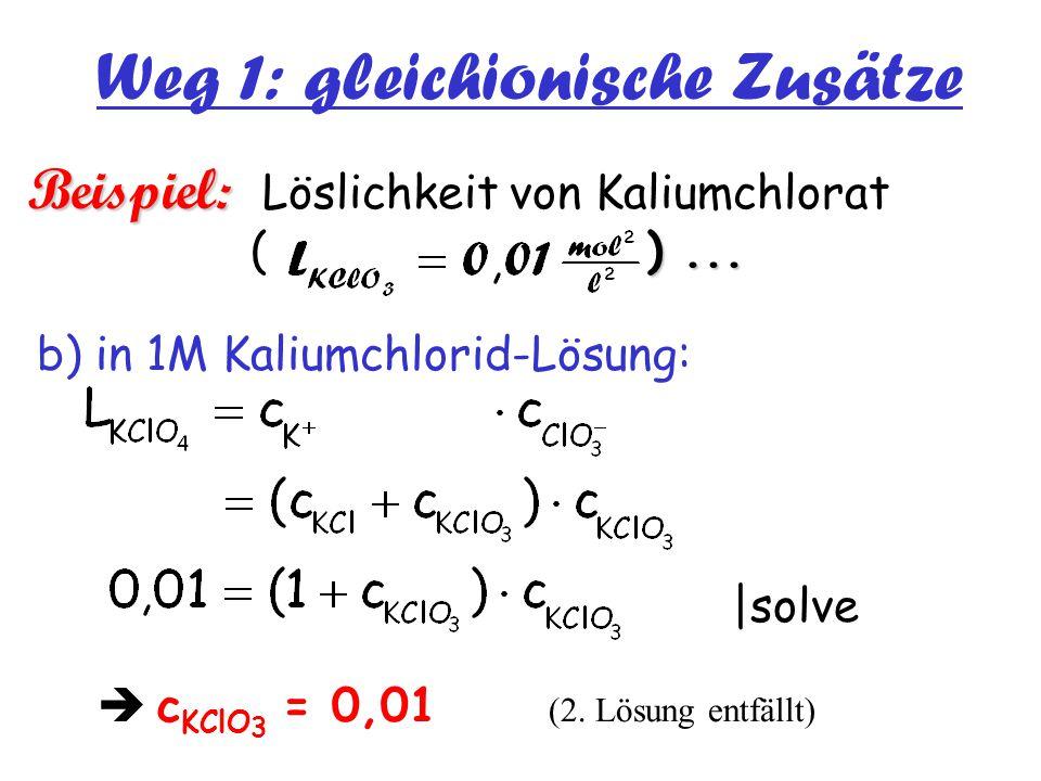 Weg 1: gleichionische Zusätze Beispiel: )... Beispiel: Löslichkeit von Kaliumchlorat ( )... b) in 1M Kaliumchlorid-Lösung: |solve  c KClO 3 = 0,01 (2