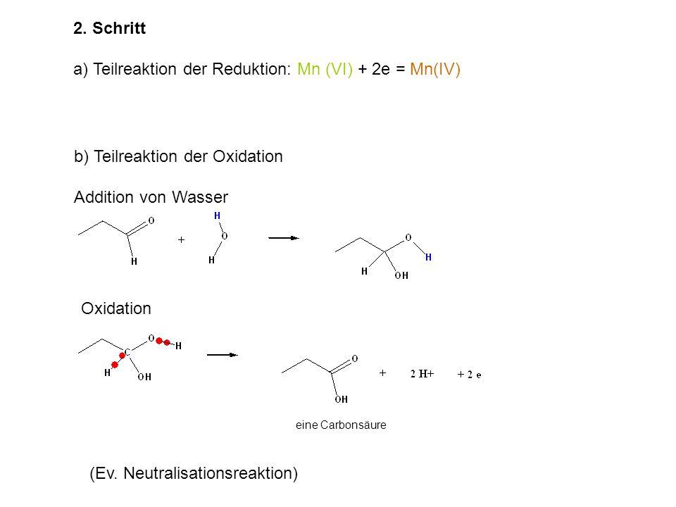 b) Teilreaktion der Oxidation Addition von Wasser Oxidation eine Carbonsäure 2.