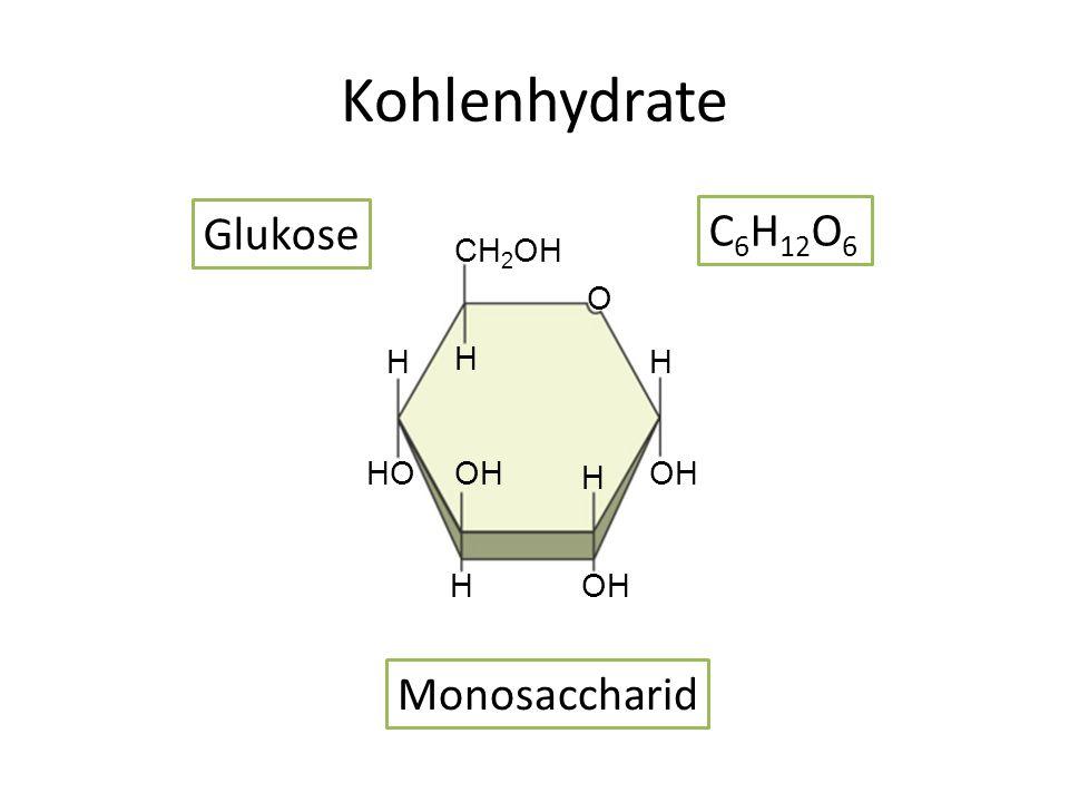 Kohlenhydrate H H CH 2 OH HO OH O H H H Glukose C 6 H 12 O 6 Monosaccharid