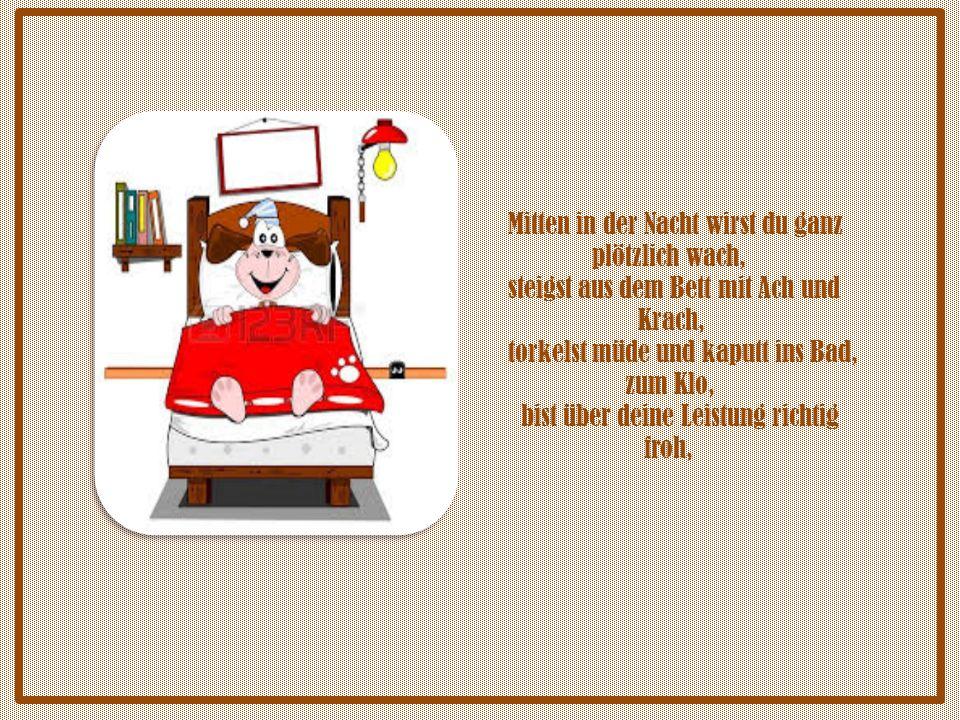 Schnell Hose runter, Deckel hoch und setzen, sonst knattern auf den Boden braune Fetzen.