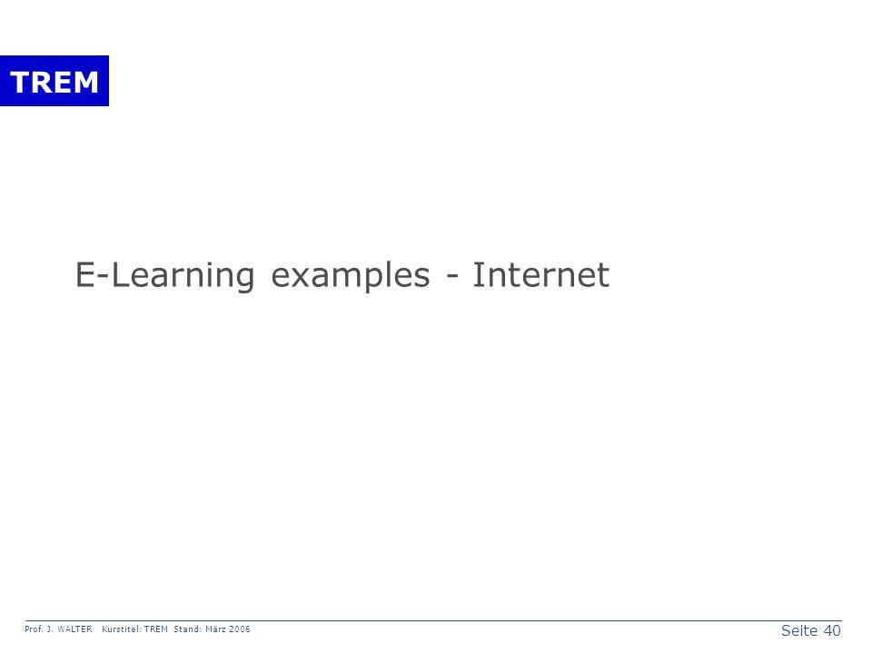 Seite 40 Prof. J. WALTER Kurstitel: TREM Stand: März 2006 TREM E-Learning examples - Internet
