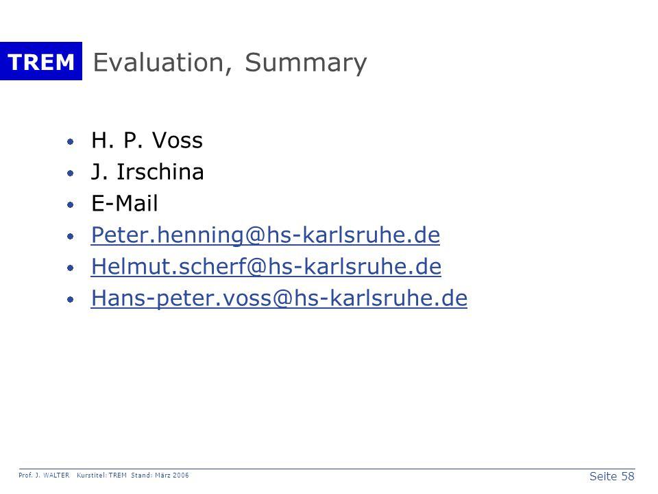 Seite 58 Prof. J. WALTER Kurstitel: TREM Stand: März 2006 TREM Evaluation, Summary  H.
