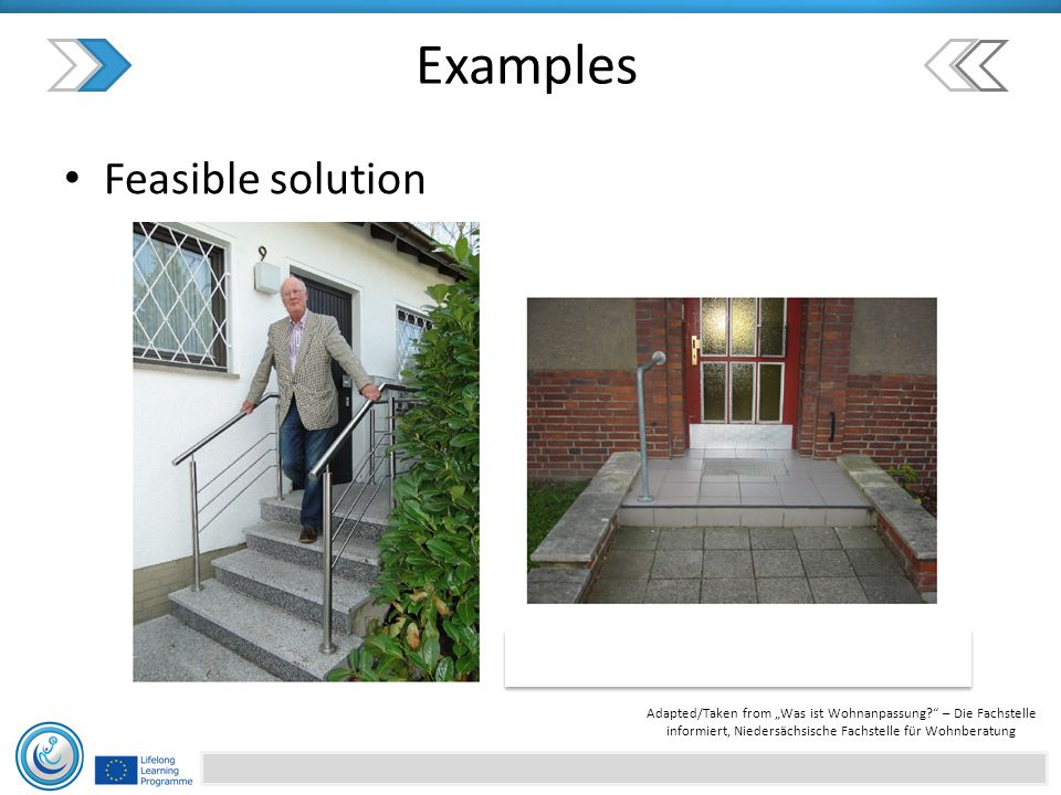 """Feasible solution Examples Adapted/Taken from """"Was ist Wohnanpassung – Die Fachstelle informiert, Niedersächsische Fachstelle für Wohnberatung"""