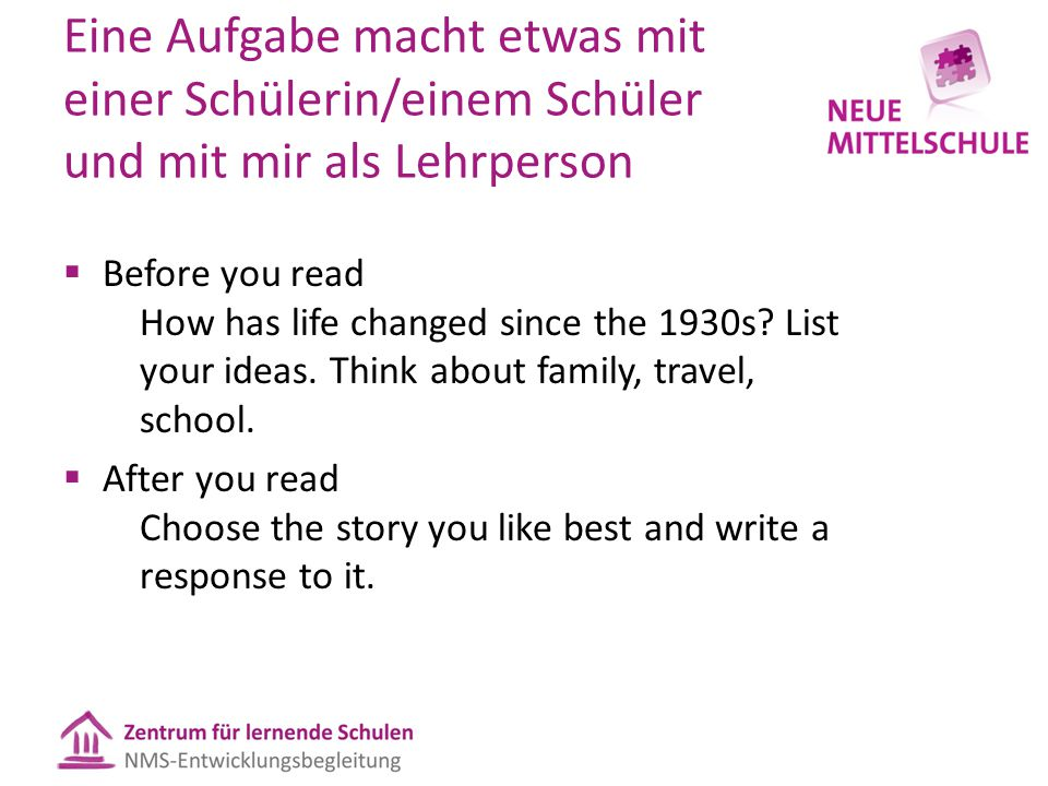 Eine Aufgabe macht etwas mit einer Schülerin/einem Schüler und mit mir als Lehrperson  Before you read How has life changed since the 1930s? List you