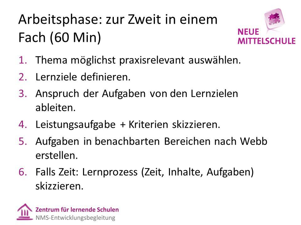Arbeitsphase: zur Zweit in einem Fach (60 Min) 1.Thema möglichst praxisrelevant auswählen.