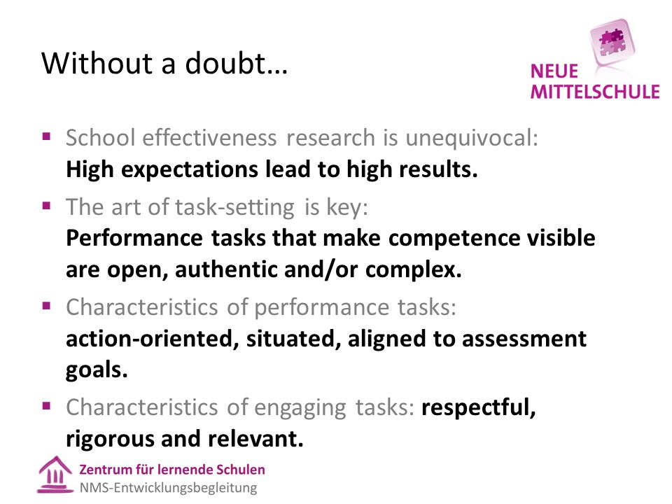 Without a doubt…  School effectiveness research is unequivocal: High expectations lead to high results.  The art of task-setting is key: Performance
