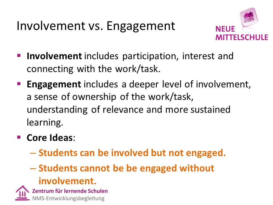 Involvement vs. Engagement  Involvement includes participation, interest and connecting with the work/task.  Engagement includes a deeper level of i