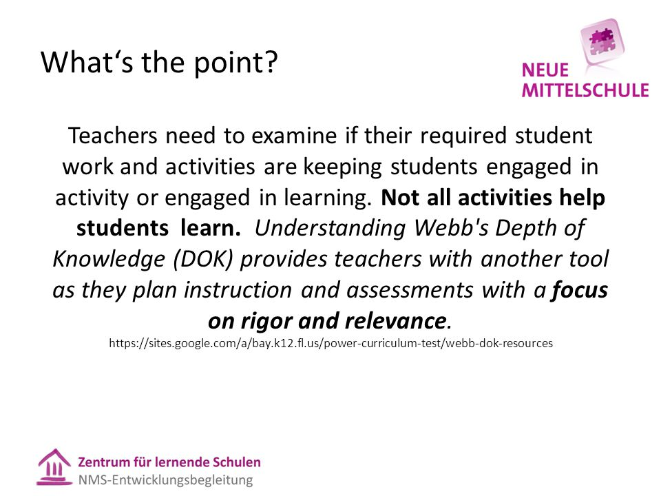 What's the point? Teachers need to examine if their required student work and activities are keeping students engaged in activity or engaged in learni