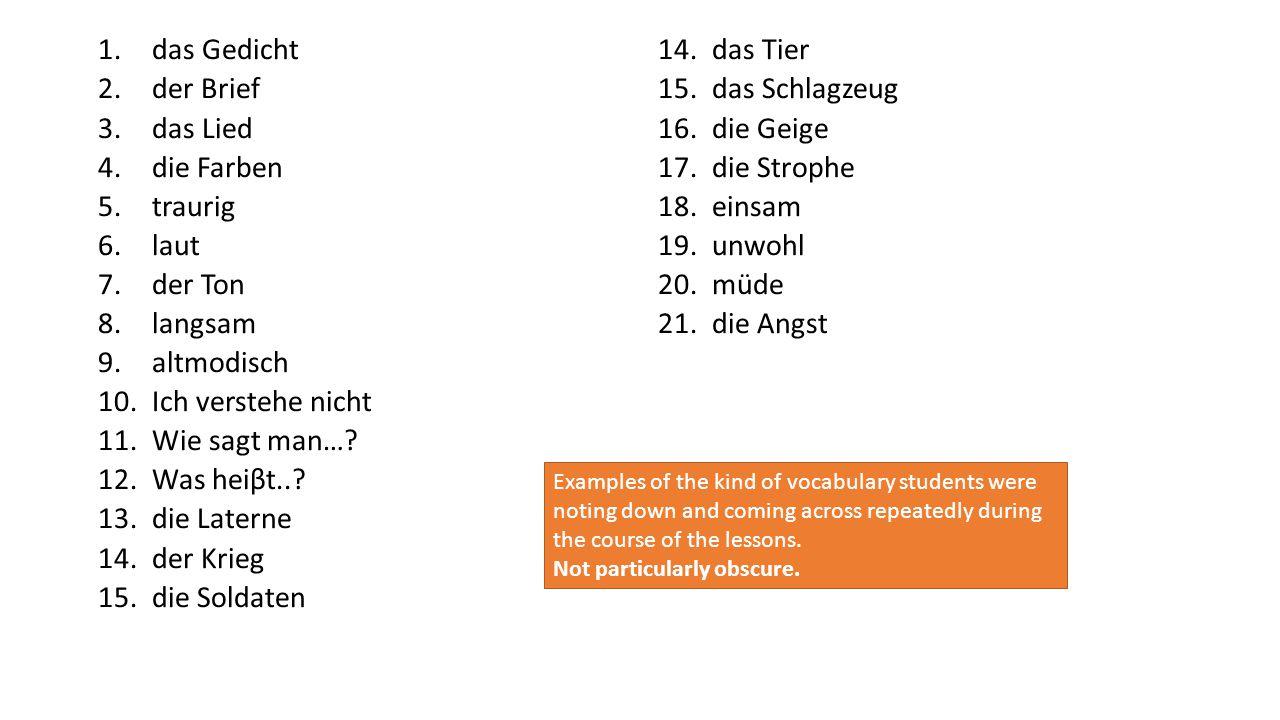 1.das Gedicht 2.der Brief 3.das Lied 4.die Farben 5.traurig 6.laut 7.der Ton 8.langsam 9.altmodisch 10.Ich verstehe nicht 11.Wie sagt man….