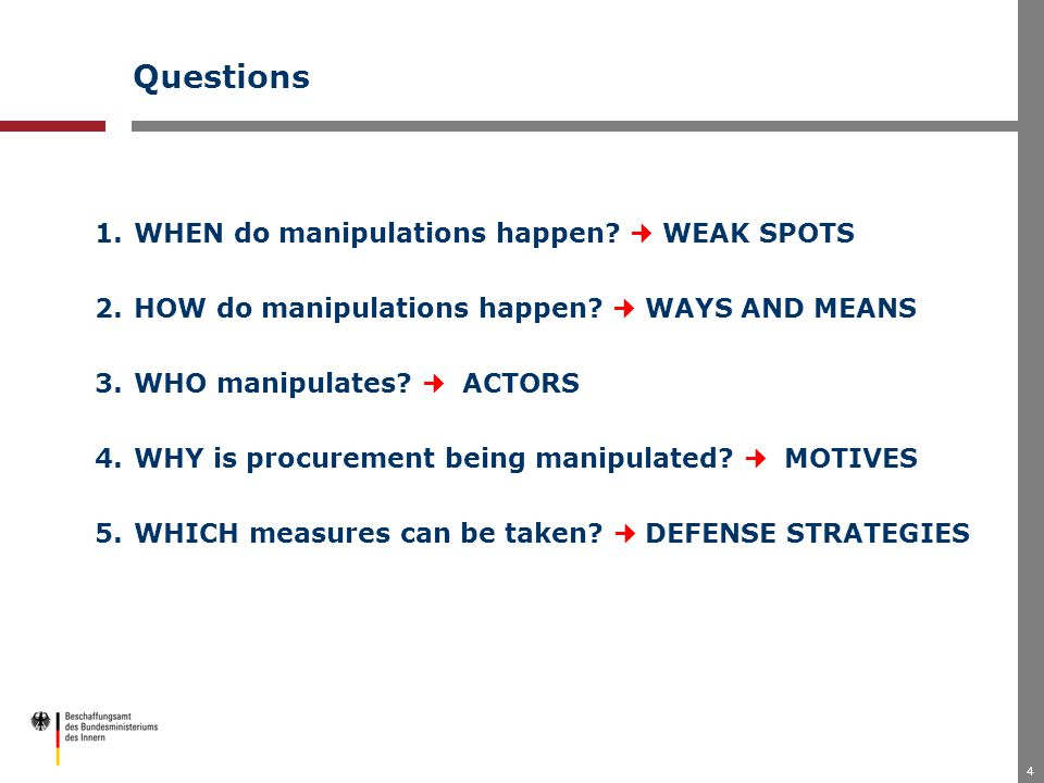 4 Questions 1.WHEN do manipulations happen. WEAK SPOTS 2.HOW do manipulations happen.