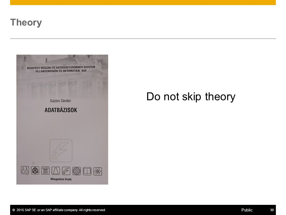 ©2015 SAP SE or an SAP affiliate company. All rights reserved.30 Public Theory Do not skip theory
