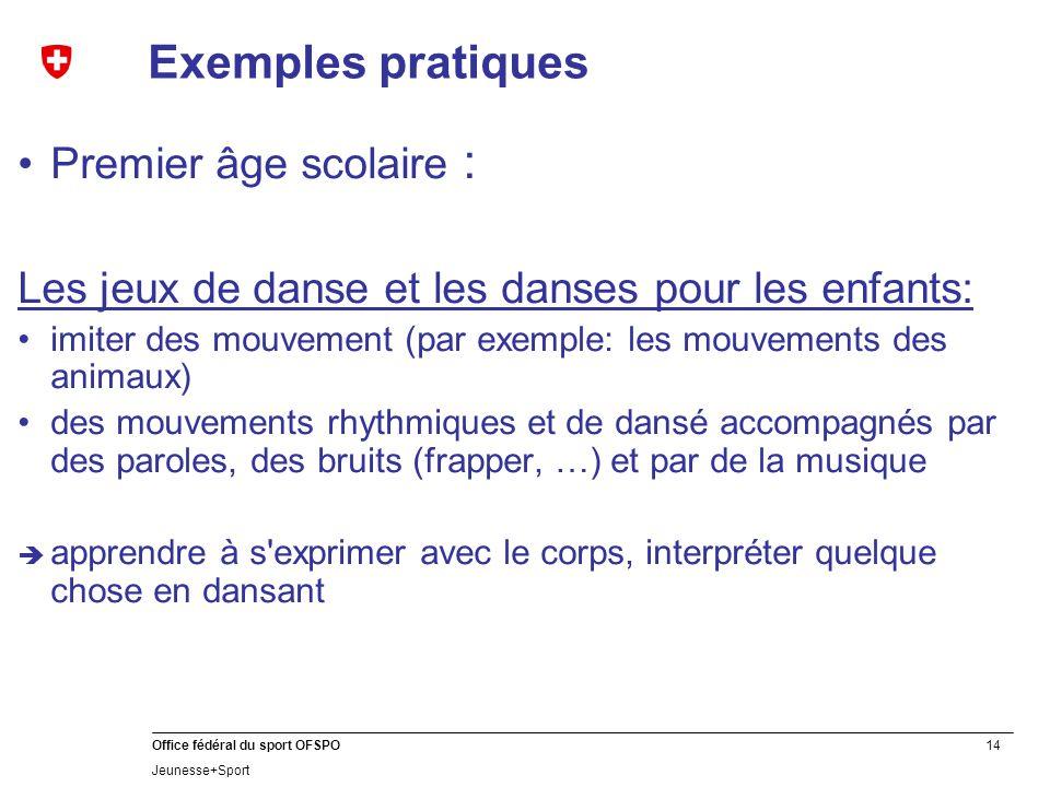 14 Office fédéral du sport OFSPO Jeunesse+Sport Exemples pratiques Premier âge scolaire : Les jeux de danse et les danses pour les enfants: imiter des