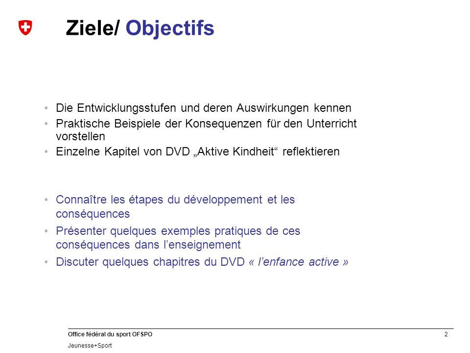 2 Office fédéral du sport OFSPO Jeunesse+Sport Ziele/ Objectifs Die Entwicklungsstufen und deren Auswirkungen kennen Praktische Beispiele der Konseque