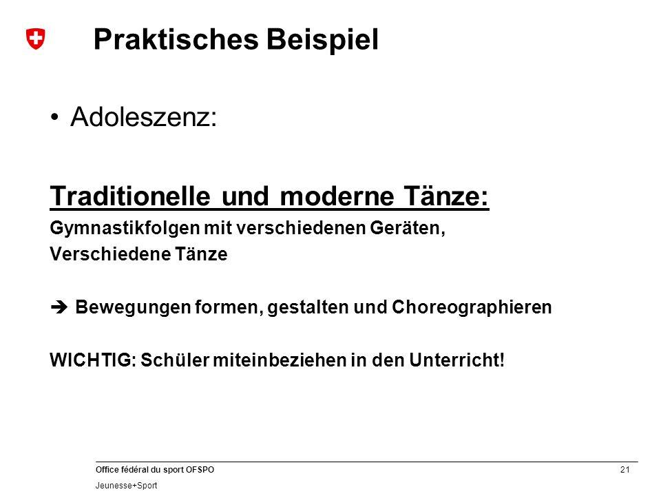 21 Office fédéral du sport OFSPO Jeunesse+Sport Praktisches Beispiel Adoleszenz: Traditionelle und moderne Tänze: Gymnastikfolgen mit verschiedenen Ge