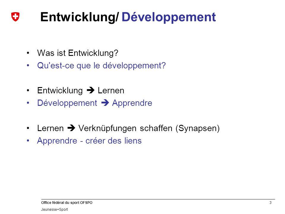 3 Office fédéral du sport OFSPO Jeunesse+Sport Entwicklung/ Développement Was ist Entwicklung? Qu'est-ce que le développement? Entwicklung  Lernen Dé