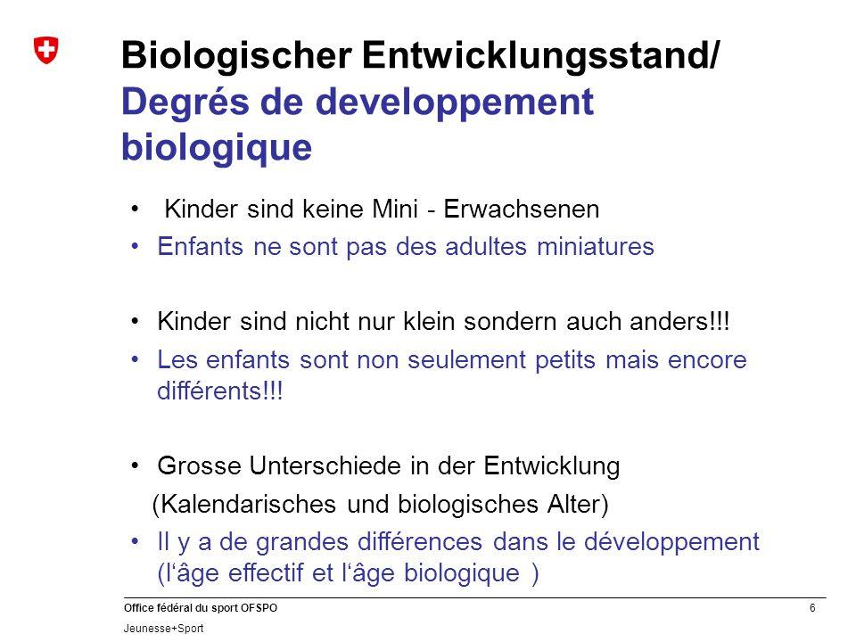 6 Office fédéral du sport OFSPO Jeunesse+Sport Biologischer Entwicklungsstand/ Degrés de developpement biologique Kinder sind keine Mini - Erwachsenen