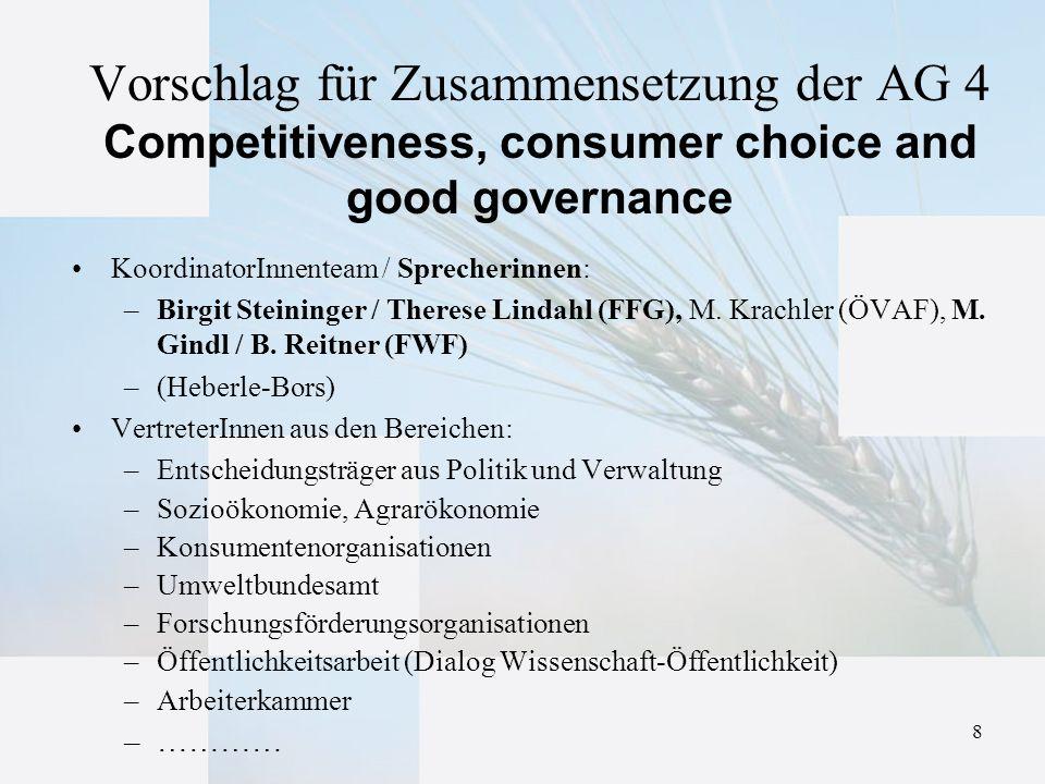 8 Vorschlag für Zusammensetzung der AG 4 Competitiveness, consumer choice and good governance KoordinatorInnenteam / Sprecherinnen: –Birgit Steininger / Therese Lindahl (FFG), M.