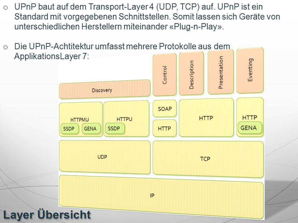 Layer Übersicht o UPnP baut auf dem Transport-Layer 4 (UDP, TCP) auf. UPnP ist ein Standard mit vorgegebenen Schnittstellen. Somit lassen sich Geräte