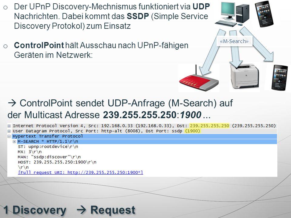 1 Discovery  Request o Der UPnP Discovery-Mechnismus funktioniert via UDP Nachrichten. Dabei kommt das SSDP (Simple Service Discovery Protokol) zum E