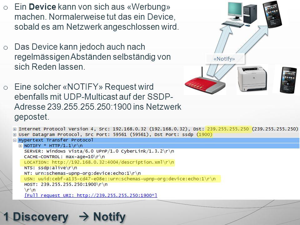 1 Discovery  Notify o Ein Device kann von sich aus «Werbung» machen. Normalerweise tut das ein Device, sobald es am Netzwerk angeschlossen wird. o Da