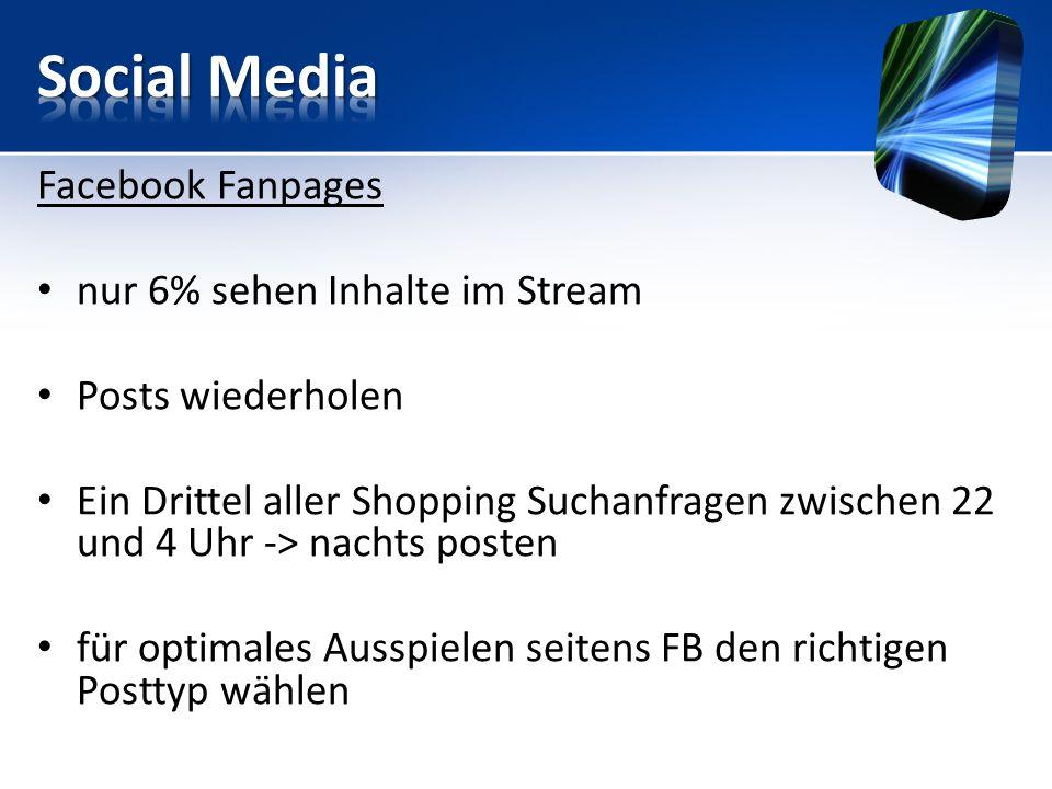 Facebook Fanpages nur 6% sehen Inhalte im Stream Posts wiederholen Ein Drittel aller Shopping Suchanfragen zwischen 22 und 4 Uhr -> nachts posten für optimales Ausspielen seitens FB den richtigen Posttyp wählen