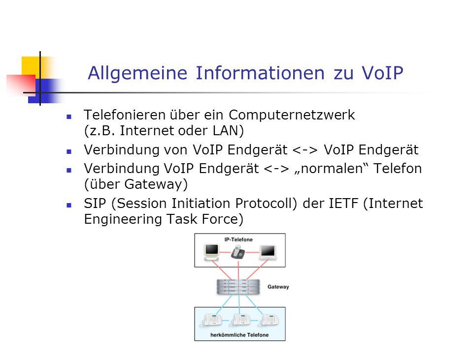 Allgemeine Informationen zu VoIP Telefonieren über ein Computernetzwerk (z.B. Internet oder LAN) Verbindung von VoIP Endgerät VoIP Endgerät Verbindung