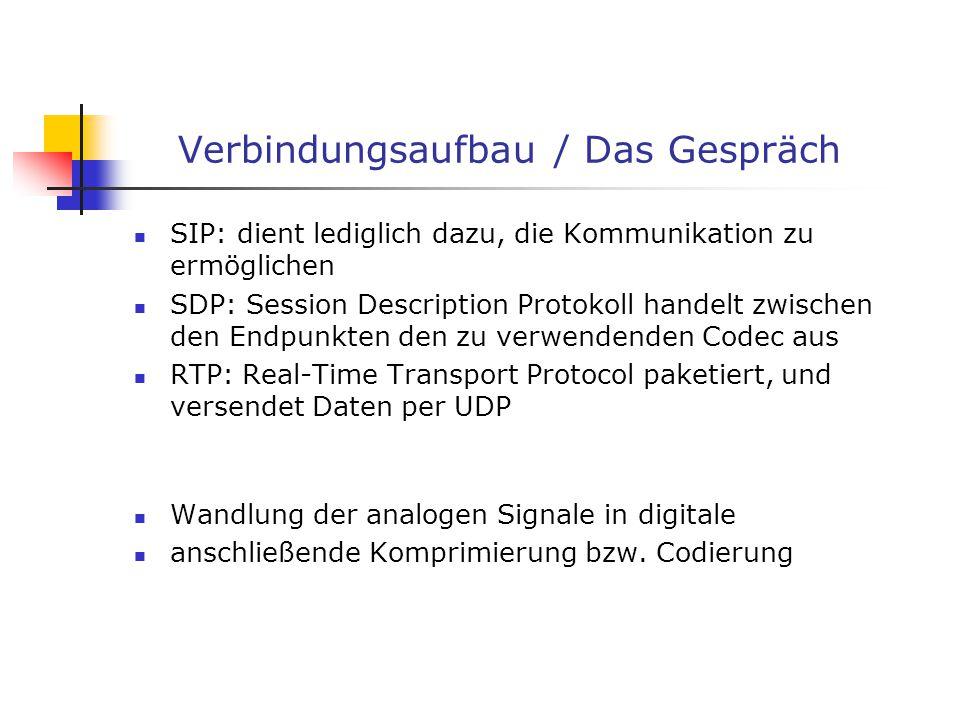 Verbindungsaufbau / Das Gespräch SIP: dient lediglich dazu, die Kommunikation zu ermöglichen SDP: Session Description Protokoll handelt zwischen den E