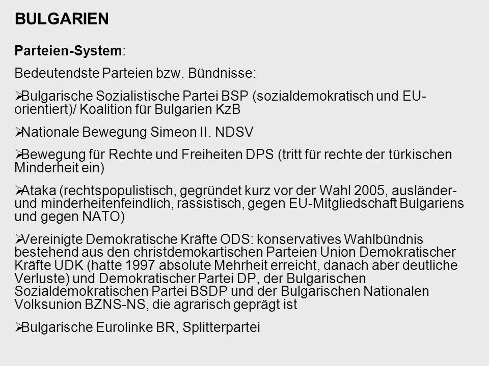 BULGARIEN Parteien-System: Bedeutendste Parteien bzw. Bündnisse:  Bulgarische Sozialistische Partei BSP (sozialdemokratisch und EU- orientiert)/ Koal
