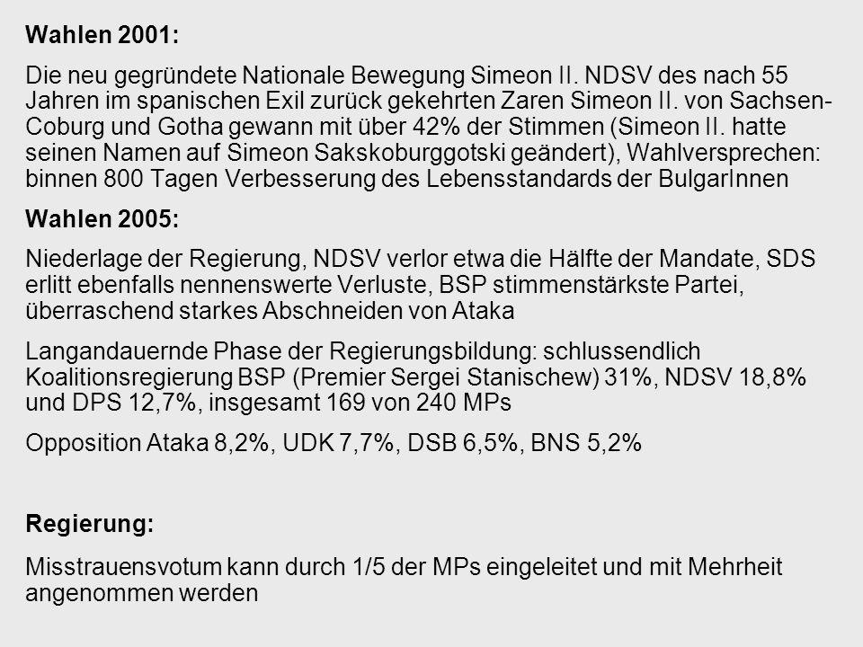 Wahlen 2001: Die neu gegründete Nationale Bewegung Simeon II. NDSV des nach 55 Jahren im spanischen Exil zurück gekehrten Zaren Simeon II. von Sachsen