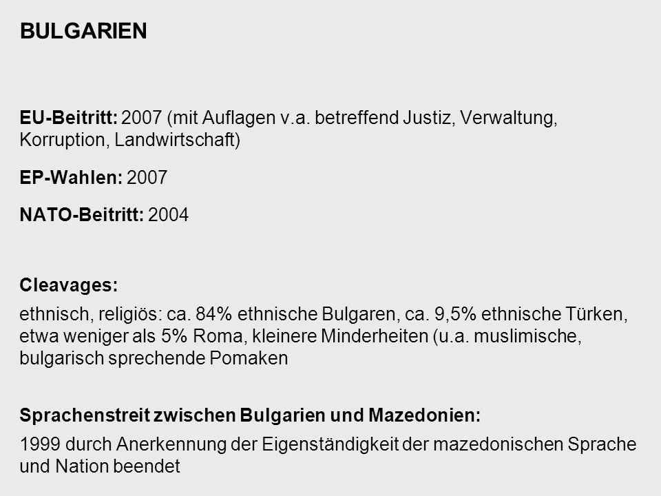 BULGARIEN EU-Beitritt: 2007 (mit Auflagen v.a. betreffend Justiz, Verwaltung, Korruption, Landwirtschaft) EP-Wahlen: 2007 NATO-Beitritt: 2004 Cleavage