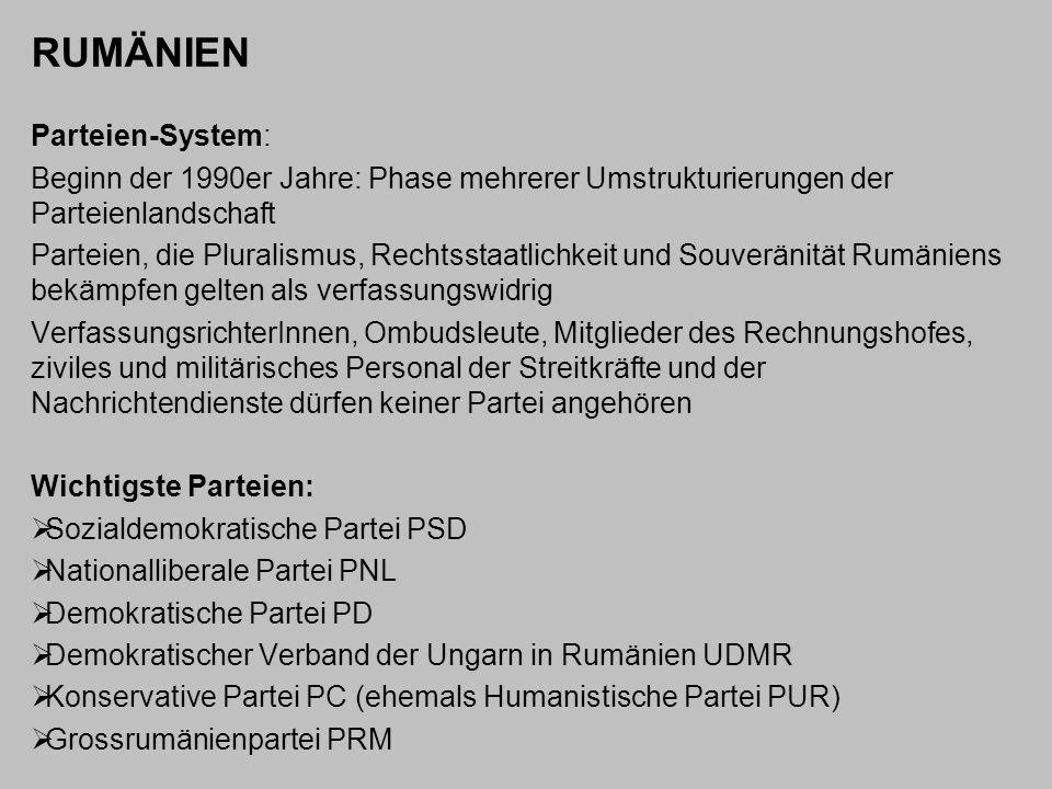 RUMÄNIEN Parteien-System: Beginn der 1990er Jahre: Phase mehrerer Umstrukturierungen der Parteienlandschaft Parteien, die Pluralismus, Rechtsstaatlich