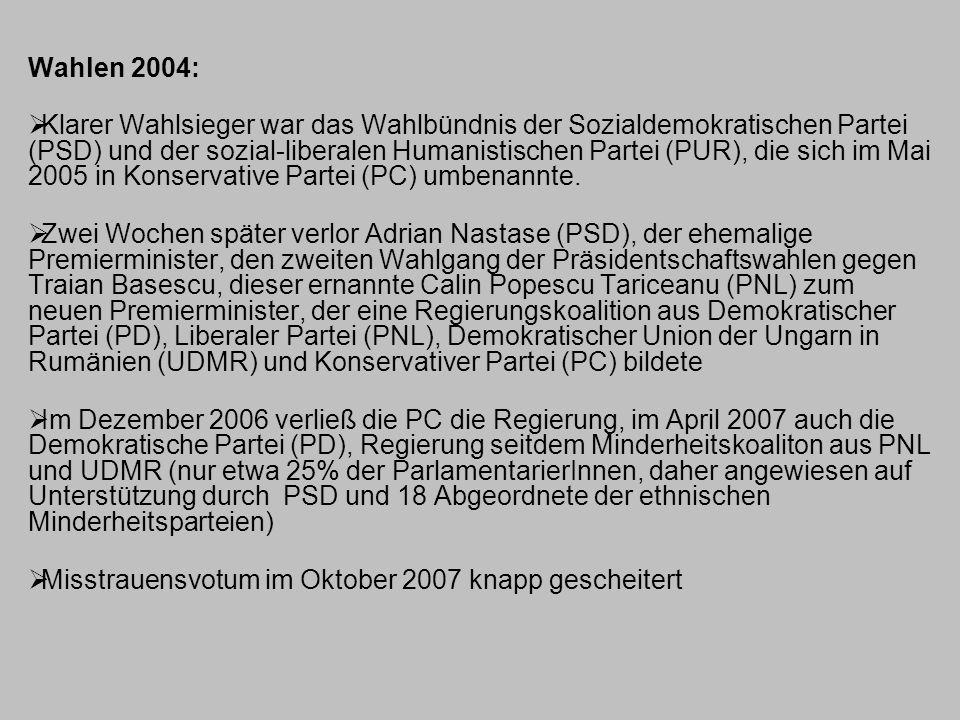 Wahlen 2004:  Klarer Wahlsieger war das Wahlbündnis der Sozialdemokratischen Partei (PSD) und der sozial-liberalen Humanistischen Partei (PUR), die s