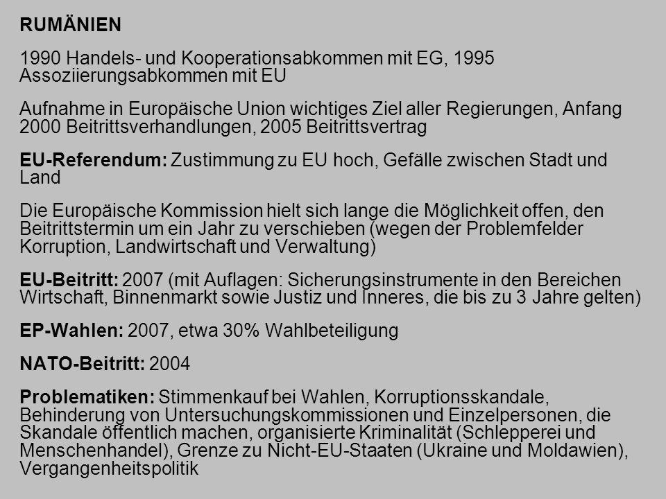 RUMÄNIEN 1990 Handels- und Kooperationsabkommen mit EG, 1995 Assoziierungsabkommen mit EU Aufnahme in Europäische Union wichtiges Ziel aller Regierung