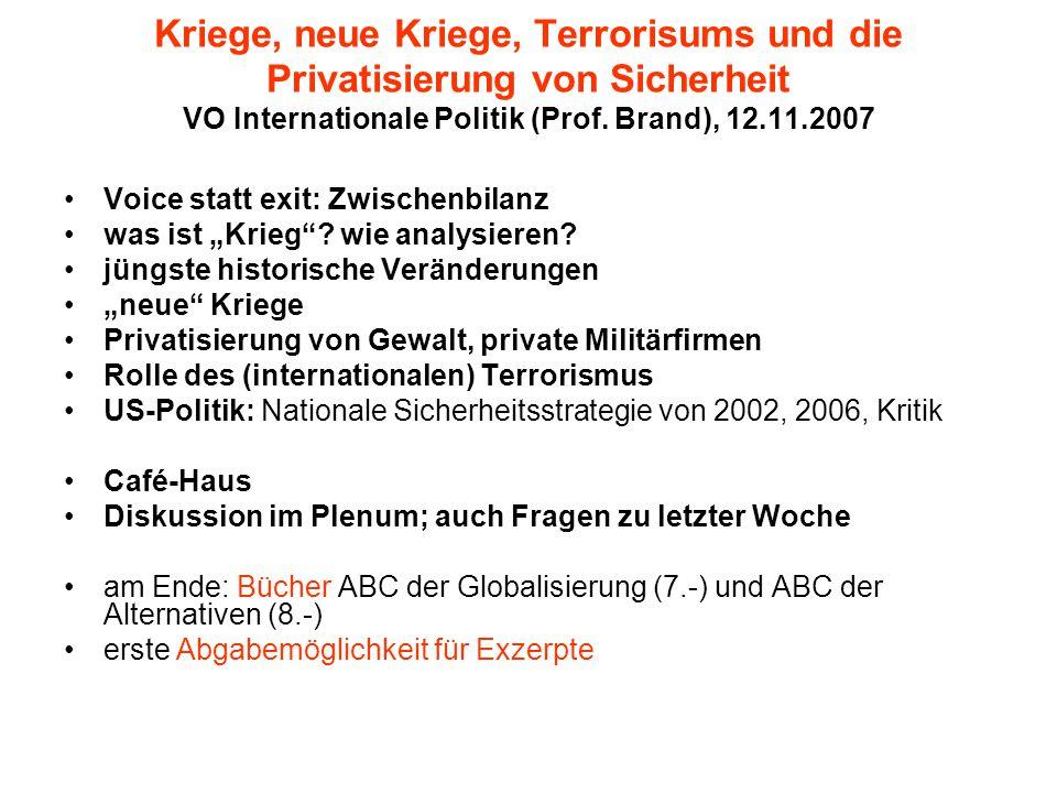 Kriege, neue Kriege, Terrorisums und die Privatisierung von Sicherheit VO Internationale Politik (Prof. Brand), 12.11.2007 Voice statt exit: Zwischenb