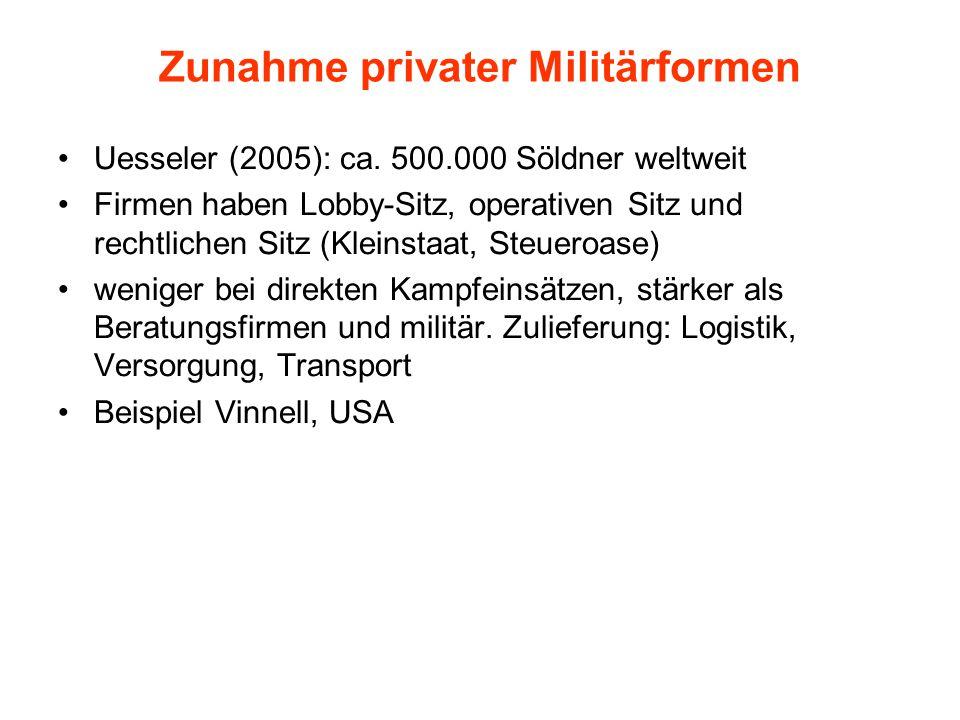 Zunahme privater Militärformen Uesseler (2005): ca. 500.000 Söldner weltweit Firmen haben Lobby-Sitz, operativen Sitz und rechtlichen Sitz (Kleinstaat